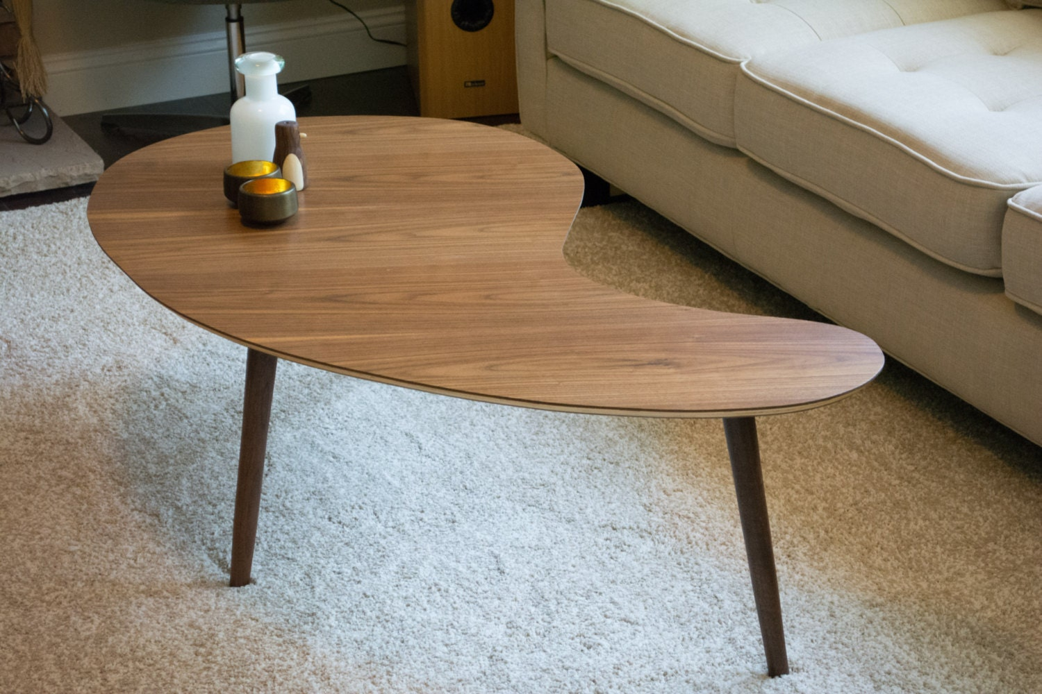Mid century modern coffee table kidney bean walnut extra zoom geotapseo Choice Image
