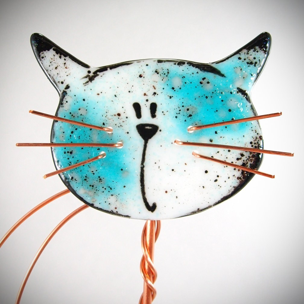 Garden Decor Cats: Cat Garden Stake Fused Glass Copper Plant Stake Outdoor Decor