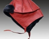 Furry Baby Hat - red