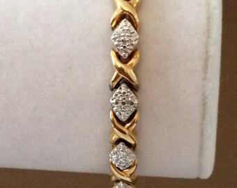 "Sterling Silver Gold Plated Bracelet 7 1/2"""