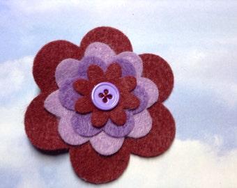 Grape Shades Felt Flower Hair Clip