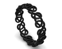 Black Rhodium Plated 14k Eternity Ring, Gold Eternity Ring,Ladies Eternity Black Gold Ring