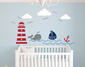Nautical Theme Wall Decal - Nursery Wall Decal - Whale Wall Decal - Sailboat Wall Decal - Nautical Baby Nursery Decor - Vinyl Wall Decal