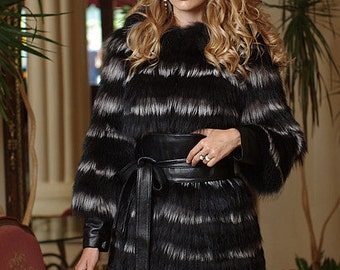 Fox in black and silver fox horizontal layered natural real fur coat