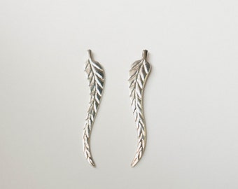 Leaf Ear Cuffs, Silver Leaf Earrings, Pin and Cuff, Leaf Feather Earrings, Silver Leaf Earrings, Silver Leaves Ear Cuff, Cuff and Wrap, Pin