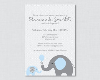 Elephant Baby Shower Invitation Printable Invite - Elephant Baby Shower Invites in Blue and Gray and Subtle Chevron Baby Boy - 0024-B