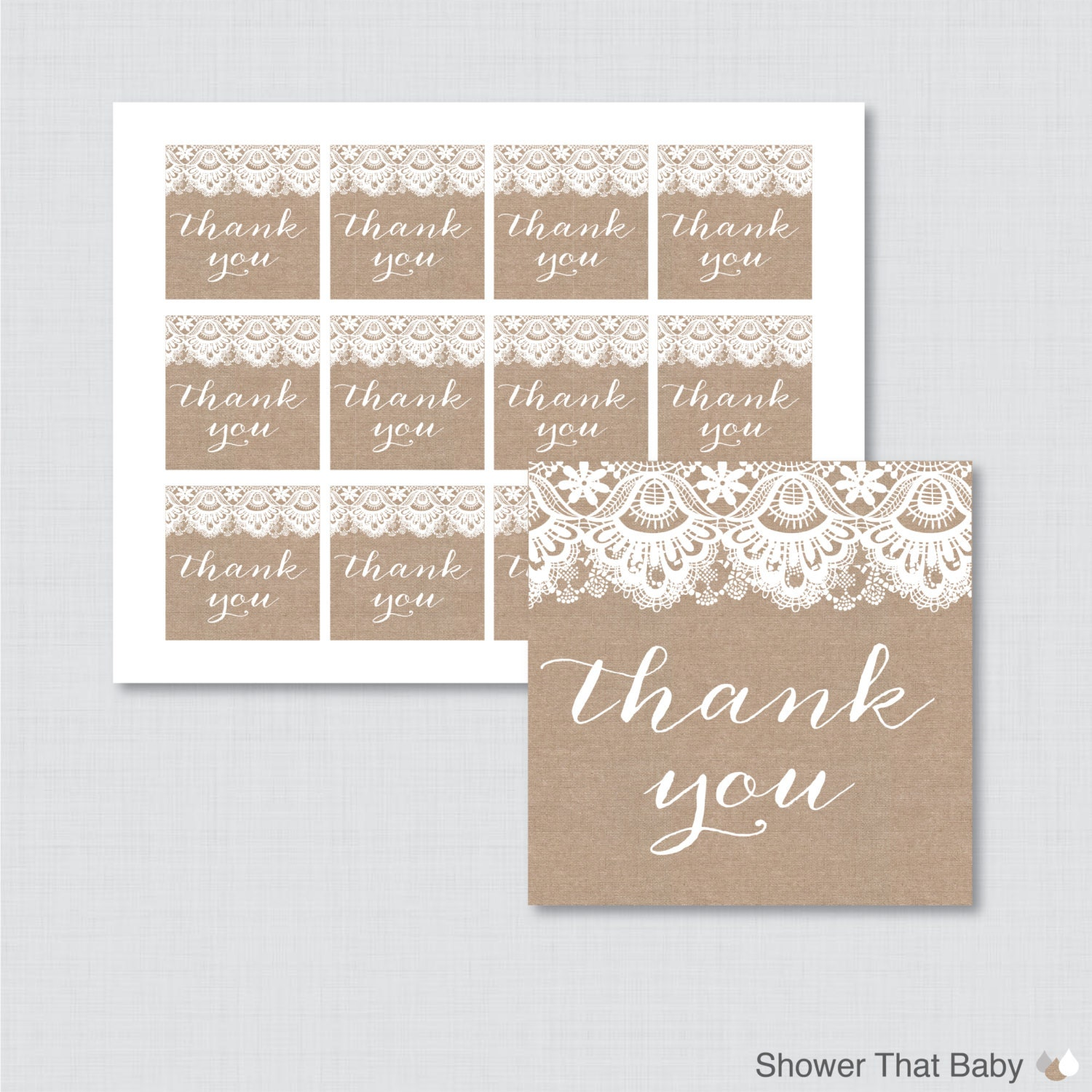 Printable burlap and lace baby shower favor tags thank you tag for Shower favor tag