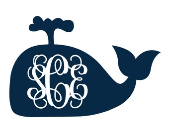 Whale Monogram Vinyl Decal Icon - 1 color - Choose from 14 colors in various sizes and fonts