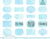 Watercolor Frames Digital, Blue Watercolor Label Clipart, Watercolor Stickers, Watercolor Tag Clip Art,  Watercolor Digital Frame Clipart
