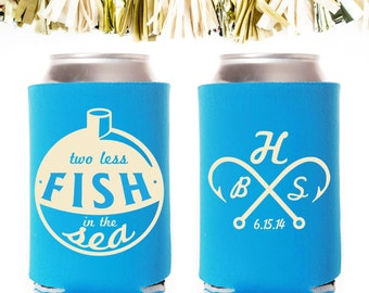 Two Less Fish in the Sea Wedding Favors with Hook and Monogram: Custom and Personalized Can Cooler