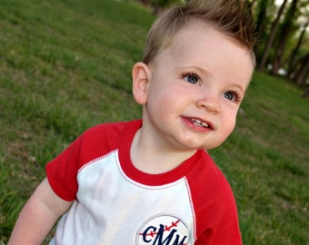Monogram Baseball Bodysuit | Monogram Baseball Tee | Baseball Onesie | Monogram Raglan Bodysuit | Gift for Baby | Gifts under 25