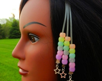 Glow in the Dark Hair Clip with Glow in the Dark Pony Beads (HBS-4)