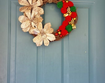 Christmas Wreath, Gold Christmas Wreath, Holiday flowers, Grapevine Wreath, Red & Green Christmas wreath