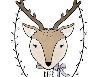 Darling Deer Printable Illustration