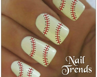 Baseball Nail Decals 20  Vinyl Adhesive Decals Nail Tattoos  Nail Art