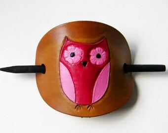 Owl Barrette, Leather Hair Barrettes, Hair Accessory, Hot Pink Owl Barrette, Hair Slide, Bun Holder, Stick Barrettes, Owl Lovers Barrette
