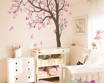 Large Baby nursery Tree vinyl wall decal, Home decor tree sticker with birds -NT023
