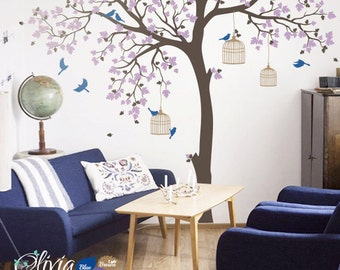 Large Tree Vinyl Wall Decal with Birds Mural Stickers - NT012