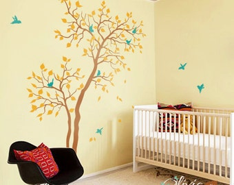 Baby nursery Forest Tree vinyl wall decal with birds mural, kids room wall sticker -NT027