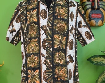 Hawaiian Shirt.....Cool 60's Tiki Print Hawaiian Shirt XL