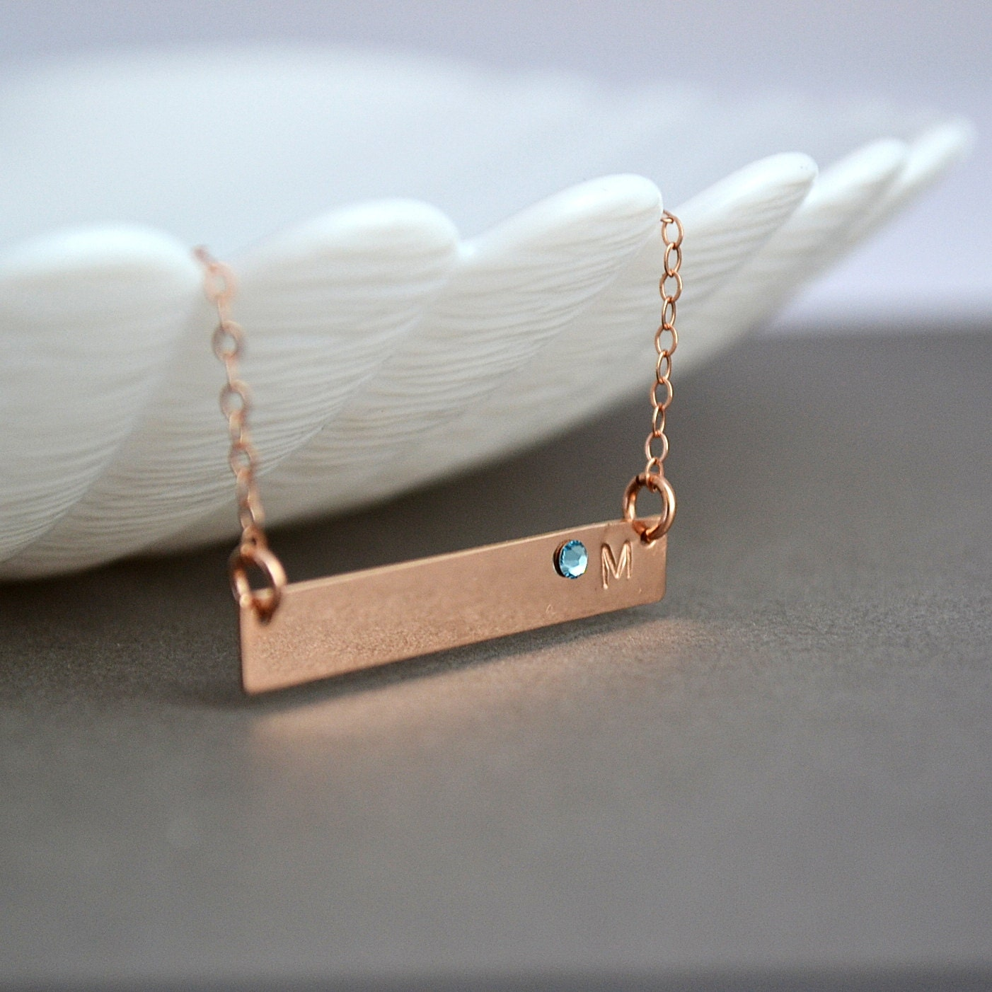 Personalized bridesmaid gift rose gold bar necklace for Rose gold personalized jewelry