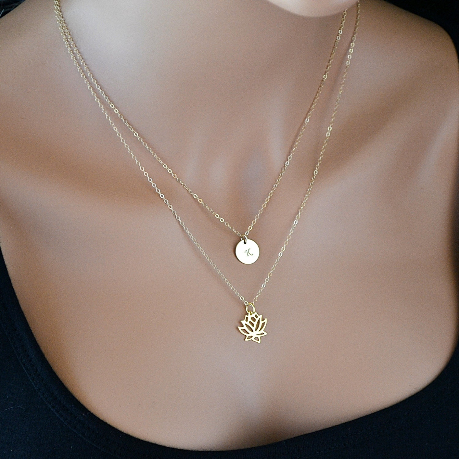 lotus necklace gold layered necklace initial necklace gold