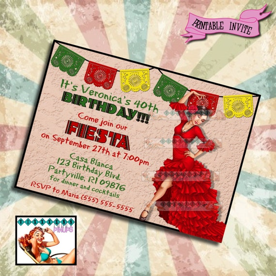 PINUP BIRTHDAY INVITATION Feista Mexican Spanish Party Pin Up