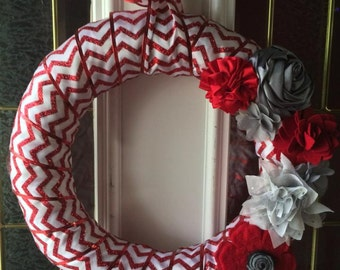 Red Chevron Ribbon Wrapped Wreath with Red and Grey Floral Accents