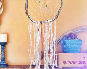 Boho Dream Catcher with branch frame and woven center