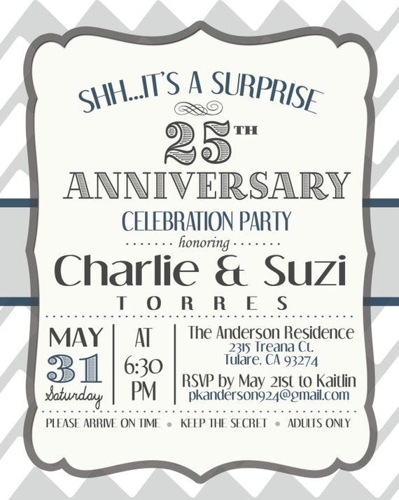 Anniversary invitation surprise th