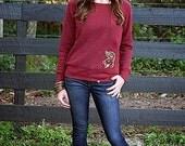 Ego Girl Outfitter Women Soft Wide Neck Long Sleeve Sweatshirt Sweater Shirt (Burgundy Red), Featuring Yellow Gold Deer