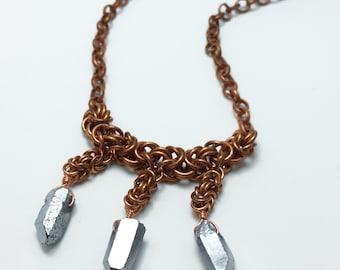 Raw quartz chainmaille statement necklace, metallic raw quartz points bib necklace, byzantine pattern bronze chainmaille