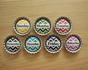 Days of the week bottle cap magnets.  Set of 7.