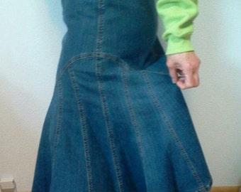 HOLIDAY SALE......Long Denim Skirt with flair bottom