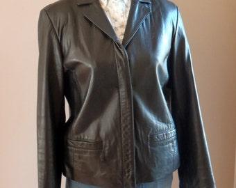 Vintage Ann Taylor Black Lambskin Leather Jacket