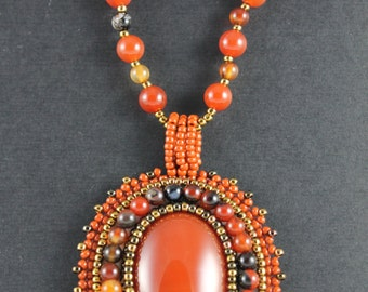 Bead Embroidery Necklace - Carnelian Cabochon