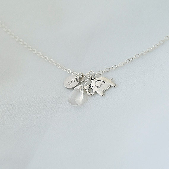 Personalized Initial Elephant Necklace, Natural Ice Quartz Necklace