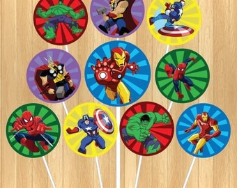 INSTANT DOWNLOAD - The Avengers Cupcake Topper