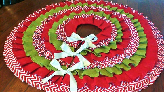 Burlap Ruffled Tree Skirt 54 In Red And Green By