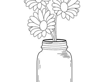 Popular items for mason jar daisy on etsy for Mason jar coloring page