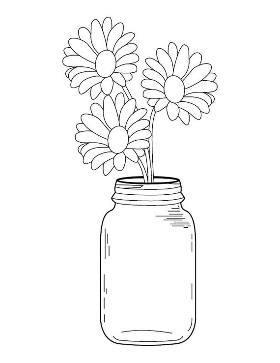 Line Drawing Jar : Jar line drawing