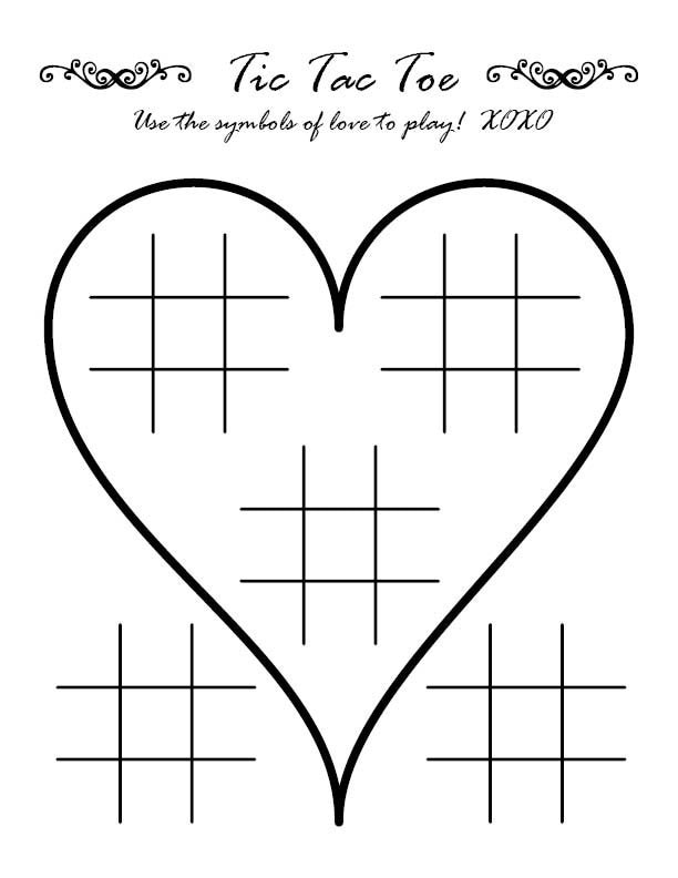 Tic Tac Toe Wedding Activity Page