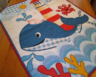 Baby Or Toddler Quilt Made With A Whale S Adventure Fabric