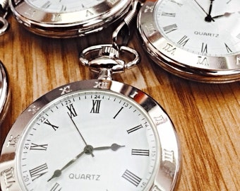 Silver Open Face Pocket Watch set of 3 Personalized Groomsmen gifts