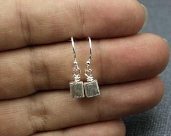 Simple Cube Earrings, Brushed Silver Earrings, Small Dangle Earrings, Geometric 3D Earrings, Plain Silver Earrings, Minimalist Earrings