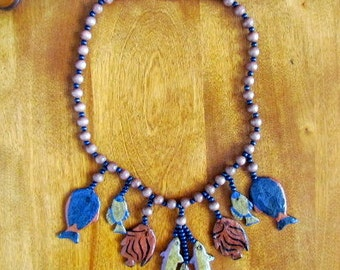 "Handmade/Vintage Papier Mache ""Gone Fishing"" Necklace"