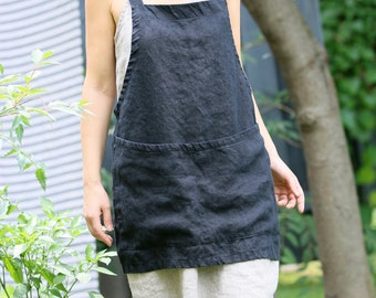 Linen criss-cross apron/pinafore/no-ties apron/Japanese apron - Short (Black)