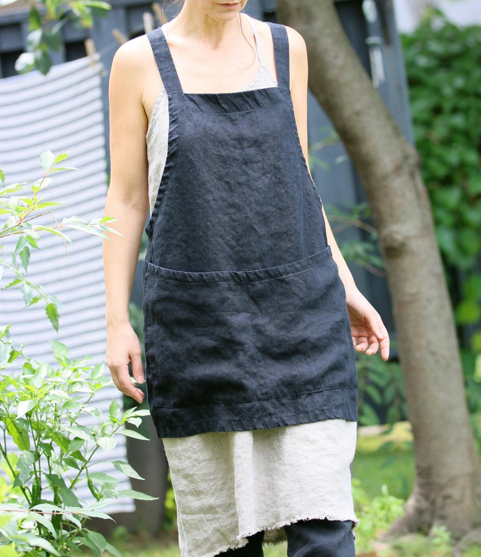 Blue apron japan - Linen Criss Cross Apron Pinafore No Ties Apron Japanese Apron Short Black