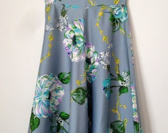 Blue Floral Silk Circle Skirt