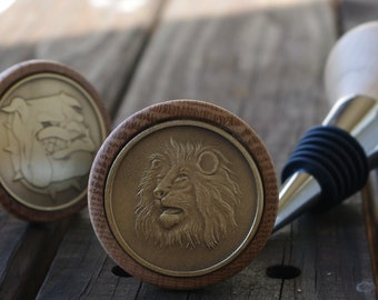 Lion Head coin Canarywood wine bottle stopper Leo King of the Jungle school mascot Teacher Coach thank you retirement or appreciation gift